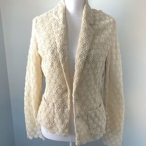 Hinge From Nordstrom Cream Lace Blazer